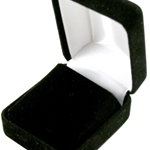 Black lapel pin box with white satin lining