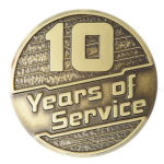 10 Years of Service Pin